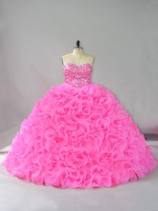 Hot Pink Ball Gowns Beading and Ruffles 15 Quinceanera Dress Lace Up Fabric With Rolling Flowers Sleeveless Floor Length