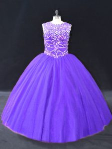 Purple Halter Top Lace Up Beading Ball Gown Prom Dress Sleeveless