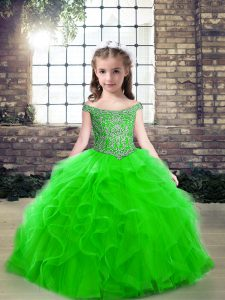 New Style Beading Pageant Dress for Teens Green Lace Up Sleeveless Floor Length