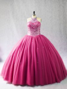 Hot Pink Sleeveless Beading Lace Up Vestidos de Quinceanera