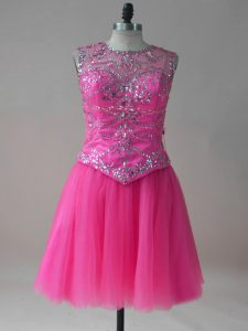 Edgy Hot Pink Sleeveless Beading Mini Length Prom Evening Gown