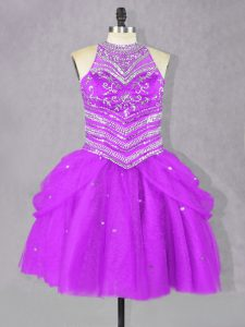 Glorious Fuchsia Sleeveless Beading Mini Length Prom Dress