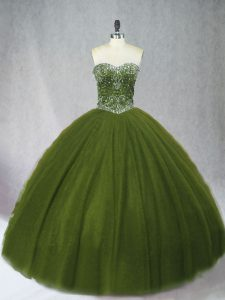 Enchanting Olive Green Tulle Lace Up Sweetheart Sleeveless Floor Length Sweet 16 Quinceanera Dress Beading