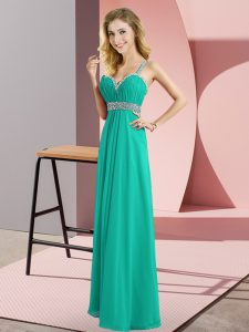Hot Selling Turquoise Sleeveless Chiffon Criss Cross Oscars Dresses for Prom and Party