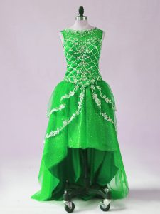 Delicate Tulle Scoop Sleeveless Zipper Beading and Appliques in Green