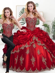 Gorgeous Wine Red Sweetheart Lace Up Beading and Appliques and Pick Ups Quinceanera Gowns Sleeveless