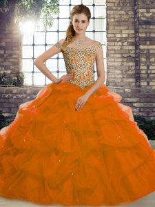 Beauteous Rust Red Off The Shoulder Neckline Beading and Pick Ups Quinceanera Gowns Sleeveless Lace Up
