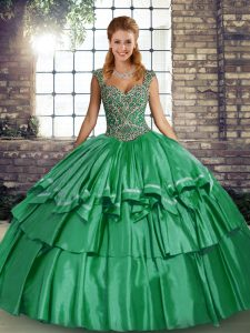 Best Selling Green Quince Ball Gowns Military Ball and Sweet 16 and Quinceanera with Beading and Ruffled Layers Straps Sleeveless Lace Up
