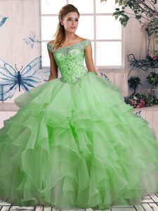 Romantic Organza Off The Shoulder Sleeveless Lace Up Beading and Ruffles Quinceanera Dress in Green