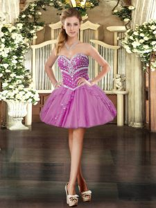 Mini Length Lavender Prom Party Dress Tulle Sleeveless Beading and Ruffles