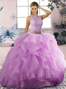 Lilac Two Pieces Tulle Scoop Sleeveless Beading and Ruffles Floor Length Lace Up Sweet 16 Dresses
