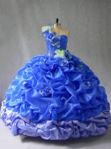 Dazzling Blue Organza Lace Up Quinceanera Dress Sleeveless Floor Length Pick Ups and Hand Made Flower