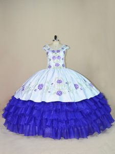 Pretty V-neck Cap Sleeves Quince Ball Gowns Floor Length Embroidery and Ruffled Layers White And Purple Satin and Organza