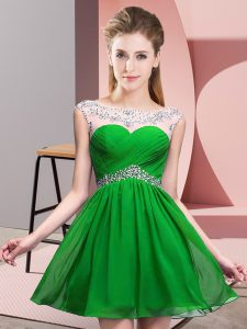 Top Selling Sleeveless Beading and Ruching Backless Prom Dress