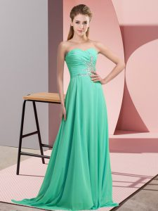 Inexpensive Apple Green Empire Chiffon Sweetheart Sleeveless Beading and Appliques Lace Up Evening Dress