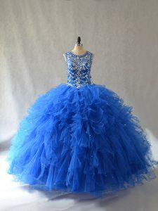 Blue Quinceanera Dress Sweet 16 and Quinceanera with Beading and Ruffles Scoop Sleeveless Side Zipper