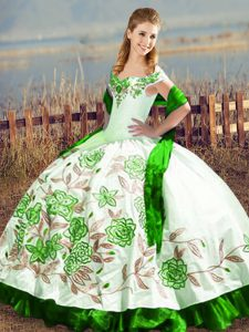 Customized Green Sleeveless Satin Lace Up Sweet 16 Quinceanera Dress for Sweet 16 and Quinceanera