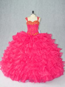 Nice Ball Gowns Sweet 16 Quinceanera Dress Red Straps Organza Sleeveless Floor Length Lace Up