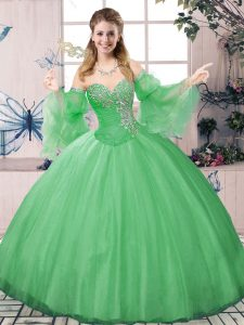 Deluxe Long Sleeves Lace Up Floor Length Beading Sweet 16 Dresses