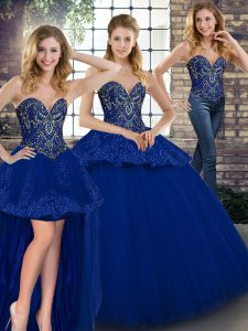 Vintage Royal Blue Tulle Lace Up Sweetheart Sleeveless Floor Length 15 Quinceanera Dress Beading and Appliques