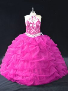 Floor Length Ball Gowns Sleeveless Fuchsia 15 Quinceanera Dress Backless