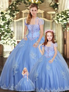 Unique Light Blue Tulle Lace Up Quinceanera Dress Sleeveless Floor Length Beading and Appliques
