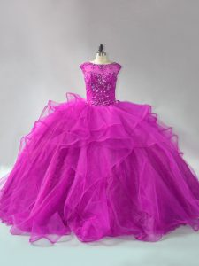 Spectacular Scoop Long Sleeves Organza Sweet 16 Dresses Beading and Ruffles Brush Train Lace Up