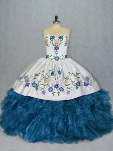 Latest Blue Sleeveless Embroidery and Ruffles Lace Up Sweet 16 Dress