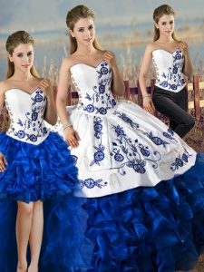 Blue And White Ball Gowns Organza Sweetheart Sleeveless Embroidery and Ruffles Lace Up Quinceanera Gown