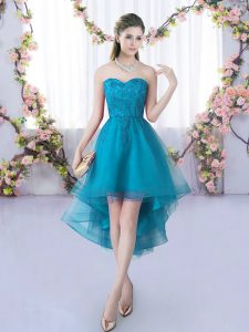 Sweetheart Sleeveless Lace Up Dama Dress for Quinceanera Teal Tulle