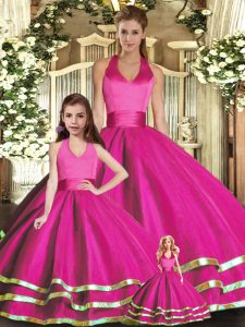 Fuchsia Lace Up Halter Top Ruffled Layers Quinceanera Gown Organza Sleeveless