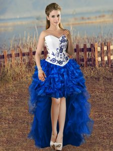Decent High Low A-line Sleeveless Blue And White Homecoming Dress Lace Up