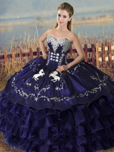 Organza Sweetheart Sleeveless Lace Up Embroidery and Ruffles Quince Ball Gowns in Purple