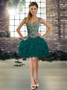 Adorable Dark Green Sleeveless Organza Lace Up Prom Gown for Prom and Party