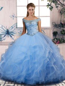 Beading and Ruffles Vestidos de Quinceanera Blue Lace Up Sleeveless Floor Length