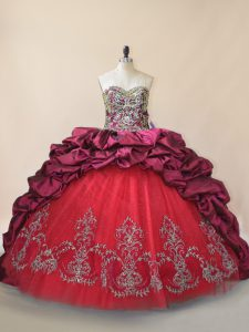 Latest Fuchsia Vestidos de Quinceanera Sweet 16 and Quinceanera with Beading and Pick Ups Sweetheart Sleeveless Brush Train Lace Up