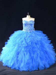 Glamorous Blue Organza Lace Up Ball Gown Prom Dress Sleeveless Floor Length Beading and Ruffles