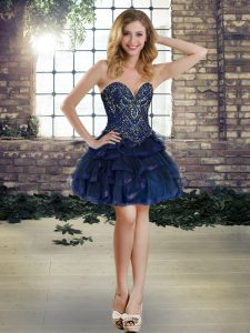 High Quality Navy Blue Sweetheart Neckline Beading and Ruffles Sleeveless Lace Up