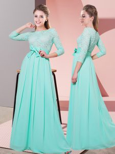 3 4 Length Sleeve Side Zipper Floor Length Lace and Belt Quinceanera Dama Dress