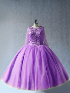 Captivating Scoop Long Sleeves Tulle 15th Birthday Dress Beading Lace Up