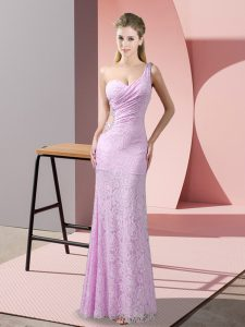 Floor Length Column/Sheath Sleeveless Lilac Prom Gown Criss Cross