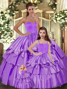 Wonderful Floor Length Lilac Quinceanera Gowns Sweetheart Sleeveless Lace Up