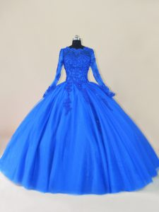 Attractive Royal Blue Tulle Zipper Quinceanera Dresses Long Sleeves Floor Length Lace and Appliques