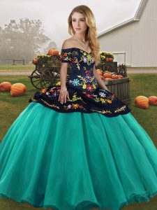 New Arrival Ball Gowns Quinceanera Gowns Turquoise Off The Shoulder Tulle Sleeveless Floor Length Lace Up