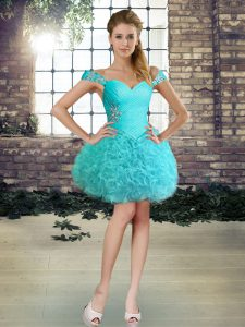Fabric With Rolling Flowers Sleeveless Mini Length Dress for Prom and Beading