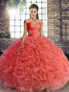 High Class Fabric With Rolling Flowers Off The Shoulder Sleeveless Lace Up Beading Quinceanera Dress in Watermelon Red