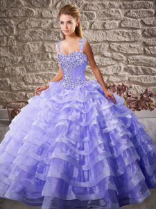 Sleeveless Court Train Lace Up Beading and Ruffled Layers Vestidos de Quinceanera