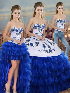 Sleeveless Lace Up Floor Length Embroidery and Ruffled Layers and Bowknot Quinceanera Gown