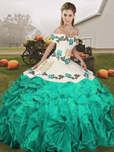Fabulous Off The Shoulder Sleeveless Sweet 16 Dress Floor Length Embroidery and Ruffles Turquoise Organza