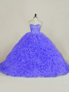 Sweetheart Sleeveless Brush Train Lace Up Vestidos de Quinceanera Purple Organza and Fabric With Rolling Flowers